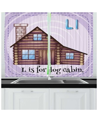 2 Piece Log Cabin Alphabet Flashcard for L Letter with Image of Log Cabin Kitchen Curtain Set East Urban Home