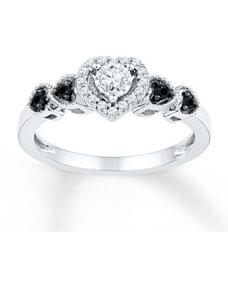 Black/White Diamonds 1/5 ct tw Promise Ring Sterling Silver