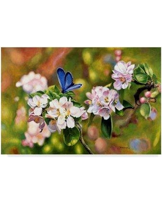 """Ophelia & Co. 'Blue on Pink' Oil Painting Print on Wrapped Canvas OPHL1993 Size: 30"""" H x 47"""" W x 2"""" D"""