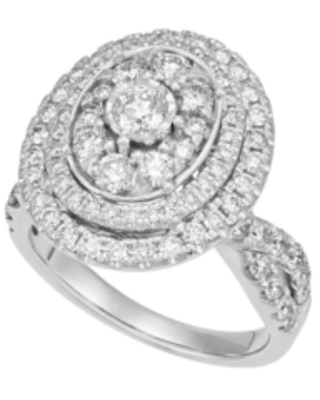 Diamond Oval Halo Engagement Ring (2 ct. t.w.) in 14K White Gold