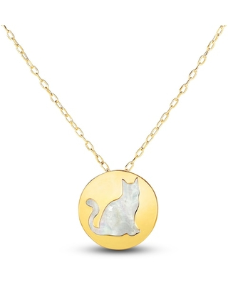 Jared The Galleria Of Jewelry Mother-of-Pearl Cat Necklace 14K Yellow Gold