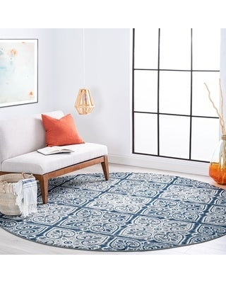 Alise Rugs Carrington Traditional Floral Area Rug (7'10'' Round - Dark Gray)
