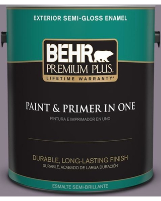 BEHR Premium Plus 1 gal. #670F-5 Gothic Amethyst Semi-Gloss Enamel Exterior Paint and Primer in One