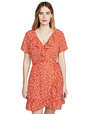 cupcakes and cashmere Women's Kiley CDC Wrap Dress with Ruffles, Red Hots, Medium