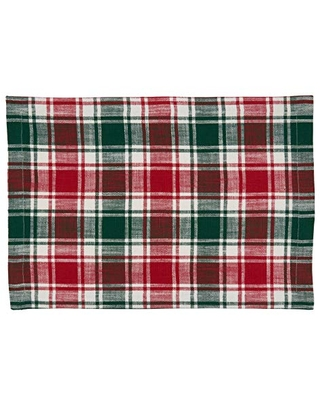 """SARO LIFESTYLE Lionel Collection Cotton Placemats With Plaid Design (Set of 4), 14""""x20"""", Red/Green"""