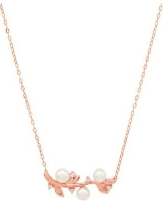 Belk & Co. Rose Gold Pearl And 2.3 ct. tw. White Topaz Leaf Necklace In 14k Rose Gold