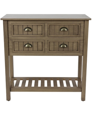 Decor Therapy Bailey 32 in. Sahara Standard Rectangle Wood Console Table with 4-Drawers, Red