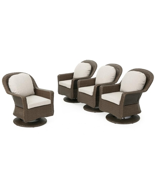 Noble House Liam Brown Swivel Wicker Outdoor Lounge Chair with Ceramic Grey Cushions (4-Pack)