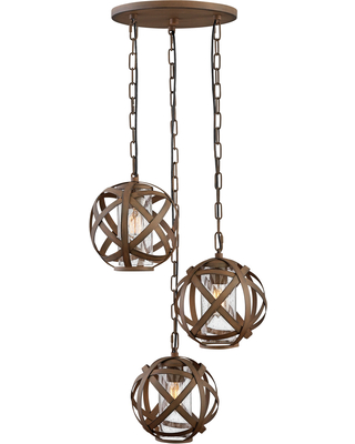 Hinkley Carson 3-Light 46.25 inch Outdoor Hanging Lantern in Vintage Iron
