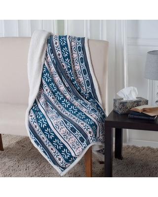 Fleece and Sherpa Blanket Throw - Snowflakes by Somerset Home