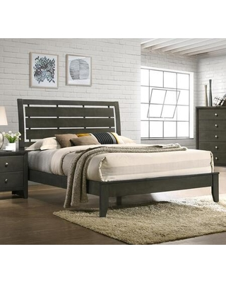 Noah Collection NA400-K King Size Bed with Slat Headboard and EPA Certified in Light Gray