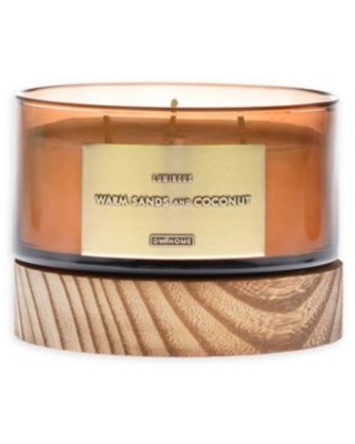 DW Home Warm Sands and Coconut 13 oz. Jar Candle with Wood Lid