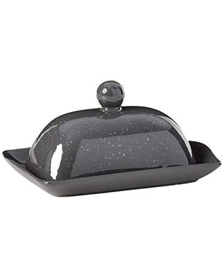 Boston Warehouse Speckleware Butter Dish with Lid, Charcoal
