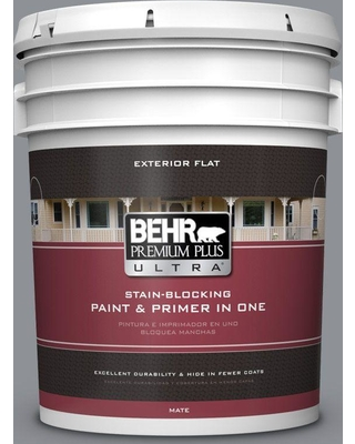 BEHR ULTRA 5 gal. #PPU18-04 Dark Pewter Flat Exterior Paint and Primer in One