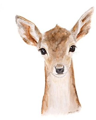 Baby Deer Watercolor Woodland Nursery Wall Art Print Available In Various Sizes Available