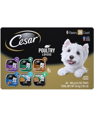 (36 Pack) CESAR Wet Dog Food Poultry Lovers Variety Pack with Real Chicken, Turkey or Duck, 3.5 oz. Easy Peel Trays