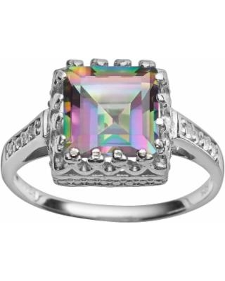Sterling Silver Rainbow Quartz and Lab-Created White Sapphire Crown Ring, Women's, Size: 5