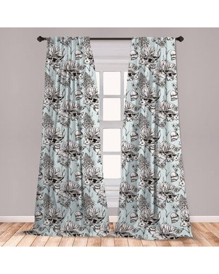 "Shabby Floral Room Darkening Rod Pocket Curtain Panels East Urban Home Size per Panel: 28"" x 95"""