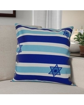 """The Holiday Aisle Hanukkah 2016 Decorative Holiday Striped Outdoor Throw Pillow HLDY6580 Color: Light Blue, Size: 18"""" H x 18"""" W x 2"""" D"""