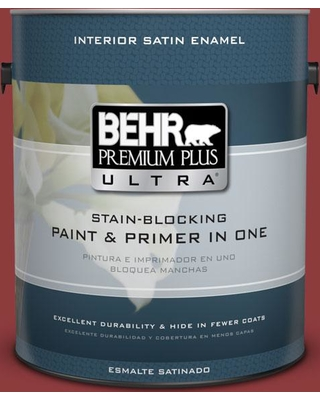 The Best Sales For Behr Ultra 1 Gal S H 180 Awning Red Extra Durable Satin Enamel Interior Paint And Primer In One