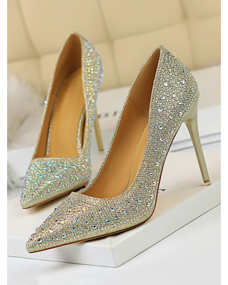 Milanoo High Heel Party Shoes Black Pointed Toe Sequined Cloth Evening Shoes Stiletto Heels