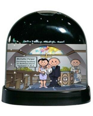 Deals For The Holiday Aisle Friendly Folks Cartoon Caricature Female Baby Baptism Snow Globe Customize Yes Plastic In Black Size 4 H X 4 W X 3 D Wayfair