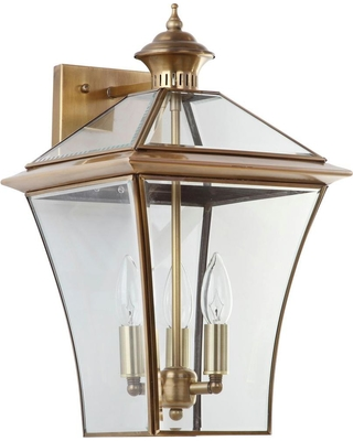 Safavieh Virginia 10.25 in. 3-Light Brass Sconce with Clear Shade