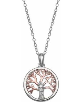 "Primrose Two-Tone 18k Rose Gold Over Silver Cubic Zirconia Family Tree Pendant Necklace, Women's, Size: 18"", White"