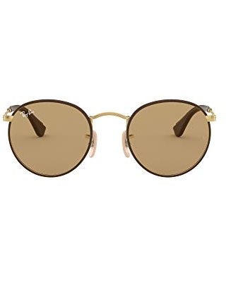 Ray-Ban RB3475Q Round Craft Sunglasses, Matte Gold & Brown Leather/Brown, 50 mm