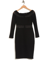LOVE BY DESIGN Off-the-Shoulder Mesh Panel Bodycon Dress, Size Small in Black at Nordstrom Rack