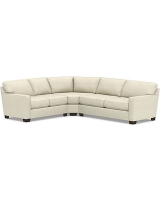 Buchanan Square Arm Upholstered Right Arm 3-Piece L-Shaped Wedge Sleeper Sectional, Polyester Wrapped Cushions, Basketweave Slub Oatmeal