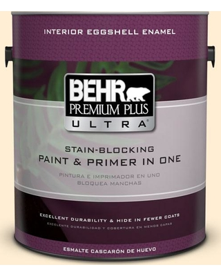 BEHR Premium Plus Ultra 1 gal. #M270-1 Pearly White Eggshell Enamel Interior Paint and Primer in One