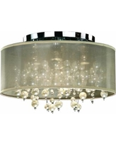 """Champagne 18""""W Chrome 4-Light Faux Pearl Ceiling Light"""