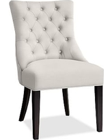 Hayes Tufted Dining Side Chair, Mahogany Frame, Performance Heathered Tweed Ivory