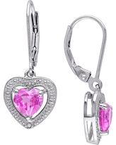 2 CT. T.W. Heart Shaped Pink Sapphire and .01 CT. T.W. Diamond Leverback Earrings in Sterling Silver (I3)