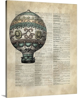"GreatBigCanvas 16 in. x 20 in. ""Vintage Dictionary Art: Hot Air Balloon 3"" by Circle Art Group Canvas Wall Art, Multi-Color"
