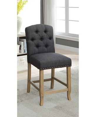 Furniture of America Roseanne Counter Height Chairs - Set of 2, Dark Gray