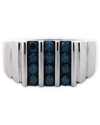 Mens Color Enhanced Blue Diamond Sterling Silver Ring, 11