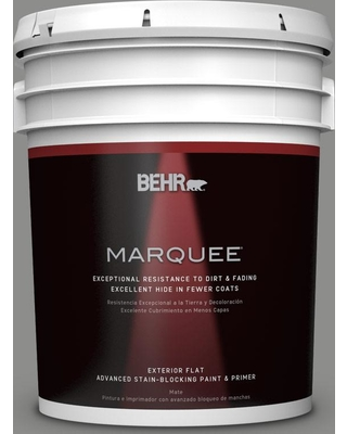 BEHR MARQUEE 5 gal. #PPU24-20 Letter Gray Flat Exterior Paint and Primer in One