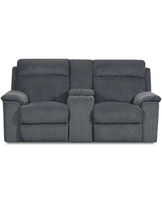 Gina Fabric Power Loveseat Recliner with Storage Console and USB Charging Port (Blue)