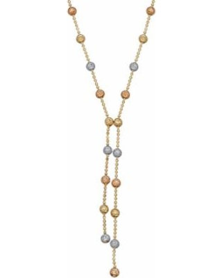 """Everlasting Gold Tri-Tone 10k Gold Beaded Necklace, Women's, Size: 17"""""