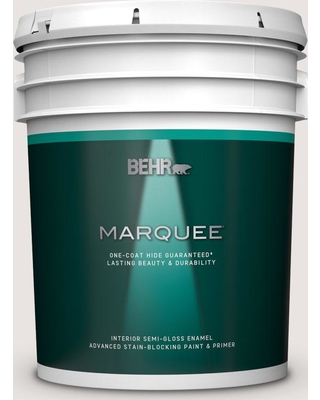 BEHR MARQUEE 5 gal. #PR-W08 Ambience White Semi-Gloss Enamel Interior Paint and Primer in One