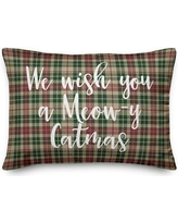 New Deals On Erma We Wish You A Meowy Catmas In Buffalo Check Plaid Lumbar Pillow The Holiday Aisle