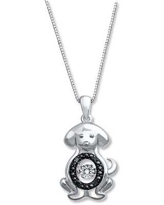 Jared The Galleria Of Jewelry Diamonds in Rhythm 1/20 ct tw Necklace Sterling Silver Dog
