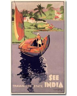 """Trademark Art """"See India"""" Vintage Advertisement on Wrapped Canvas BL00189-C Size: 24"""" H x 14"""" W x 2"""" D"""