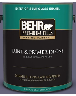 BEHR PREMIUM PLUS 1 gal. #640F-6 Enchanted Evening Semi-Gloss Enamel Exterior Paint and Primer in One