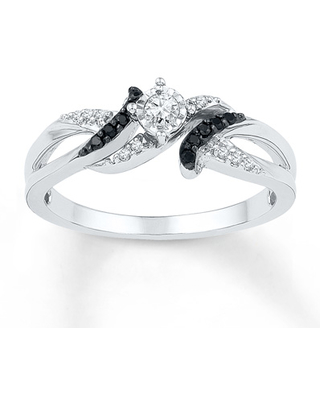 Black/White Diamond Ring 1/6 ct tw Round-cut Sterling Silver