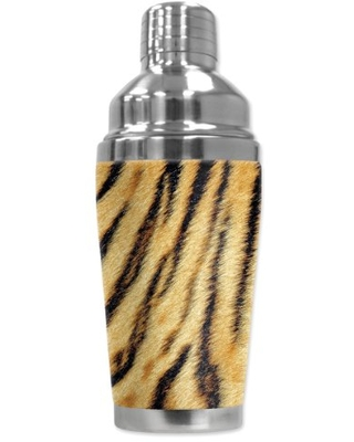 "Mugzie ""Tiger Fur"" Cocktail Shaker with Insulated Wetsuit Cover, 16 oz, Black"