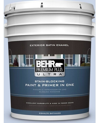 BEHR Premium Plus Ultra 5 gal. #590A-2 Monet Lily Satin Enamel Exterior Paint and Primer in One