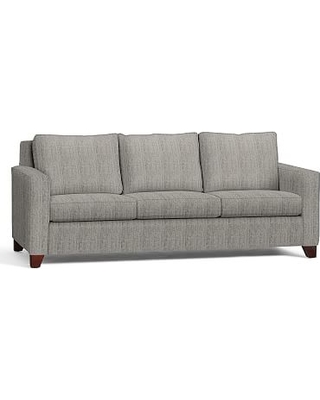 """Cameron Square Arm Upholstered Grand Sofa 96"""", Polyester Wrapped Cushions, Sunbrella(R) Performance Sahara Weave Charcoal"""